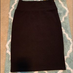 Luluroe  black pencil skirt with red dots